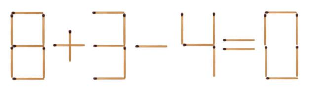 Головоломка з сірниками 8+3-4=0