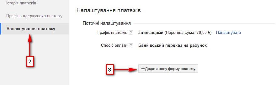 Налаштування adsense SWIFT-платіж в Україні