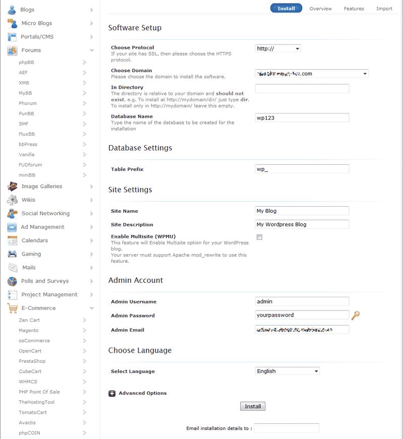 установка WordPress через Softaculous хостинга